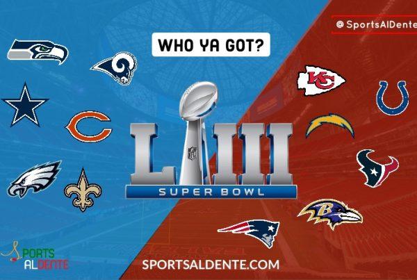 AFC vs NFC Super Bowl Graphic. A Sports Al Dente Illustration via Ryan Bertrand