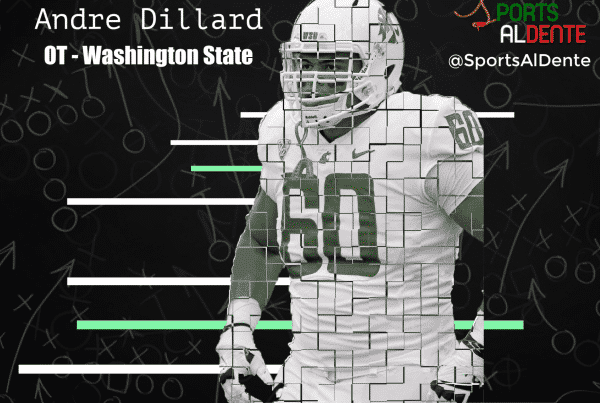 Andre Dillard NFL Draft Profile. Photo Credit: Shutterstock / Sports Al Dente Illustration.