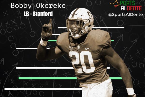 Bobby Okereke NFL Draft Profile. Photo Credit: Twitter / Sports Al Dente Illustration