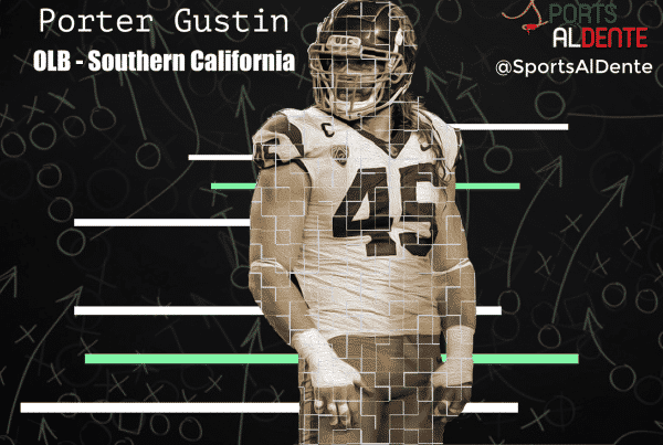 Porter Gustin NFL Draft Profile. Photo Credit: Salt Lake Tribune / Sports Al Dente Illustration