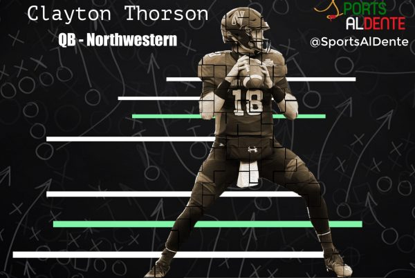 Clayton Thorson NFL Draft Profile | Photo Credit: Vincent Carchietta | USA Today Sports | Sports Al Dente Illustration