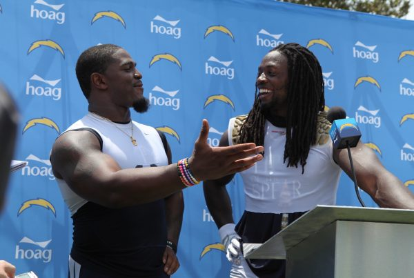 Los Angeles Chargers Linebacker Denzel Perryman With Running Back Melvin Gordon
