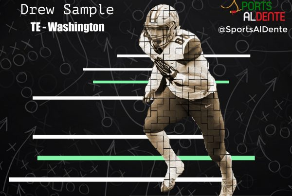 Drew Sample NFL Draft Profile. Photo Credit: Monika Samek | Scout | Sports Al Dente Illustration