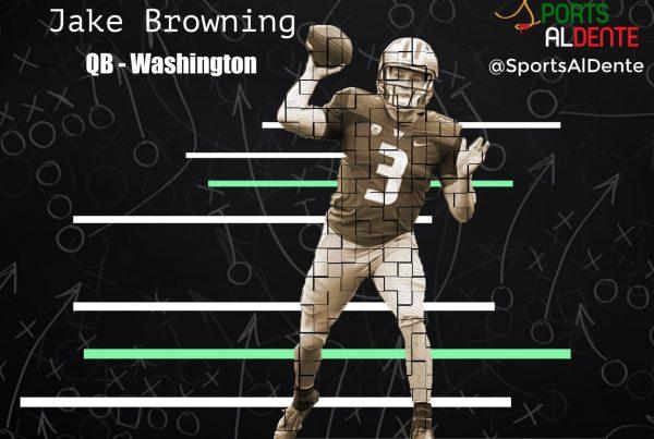 Jake Browning NFL Draft Preview. Photo Credit: Scott Eklund | Red Box Pictures | Sports Al Dente Illustration