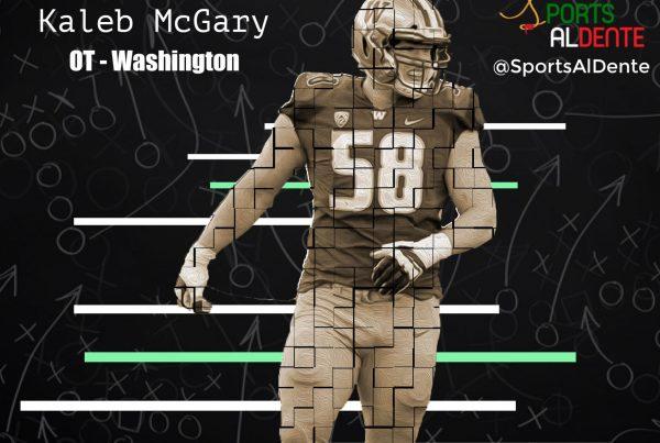 Kaleb McGary NFL Draft Profile. Photo Credit: M. Samek | 247Sports | Sports Al Dente Illustration