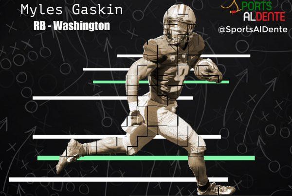 Myles Gaskin NFL Draft Profile. Photo Credit: Inside The Pylon | Sports Al Dente Illustration