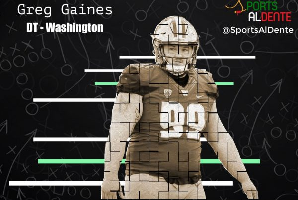Greg Gaines NFL Draft Profile. A Sports Al Dente Illustration