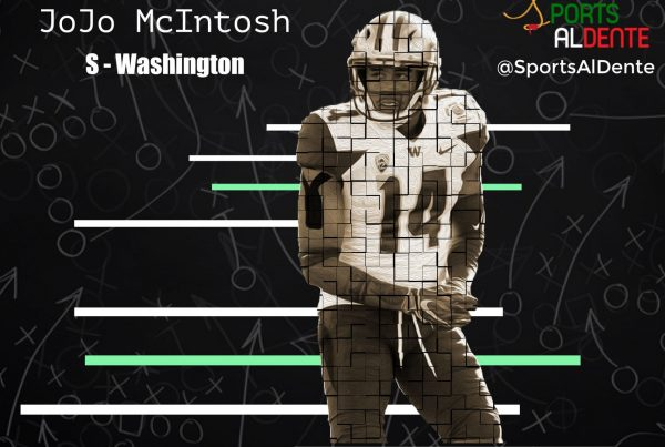 JoJo McIntosh NFL Draft Profile. Photo Credit: 247 Sports | Sports Al Dente Illustration