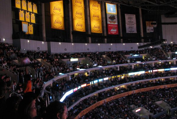 Los Angeles Lakers Banners At Staples Center. Photo Credit: Radhika Bhagwat | Under Creative Commons License