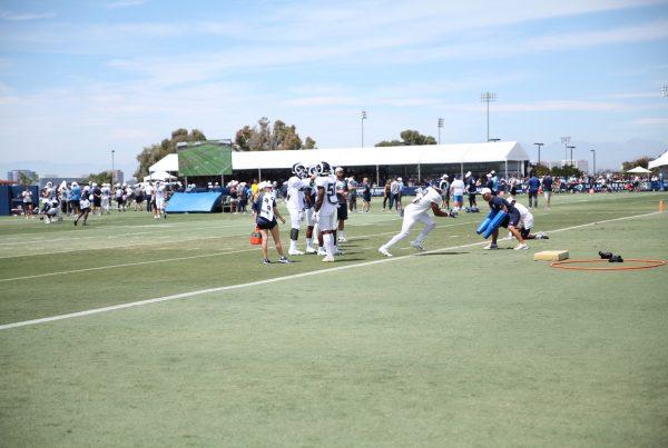 Los Angeles Rams Linebacker Group During 2019 Training Camp. Photo Credit: Ryan Dyrud | Sports Al Dente