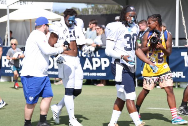 Todd Gurley Enjoys Some Cake For His Birthday At Rams Training Camp In Irvine California 08/03/19. Photo Credit: Ryan Dyrud | Sports Al Dente