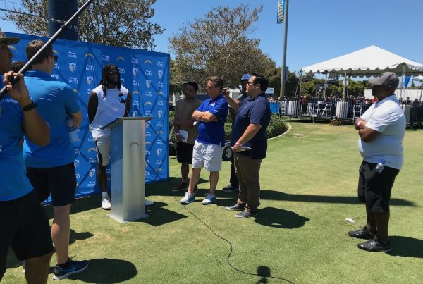 Los Angeles Chargers Media At 2019 Training Camp Interviewing Mike Williams. Photo Credit: Ryan Dyrud | The LAFB Network