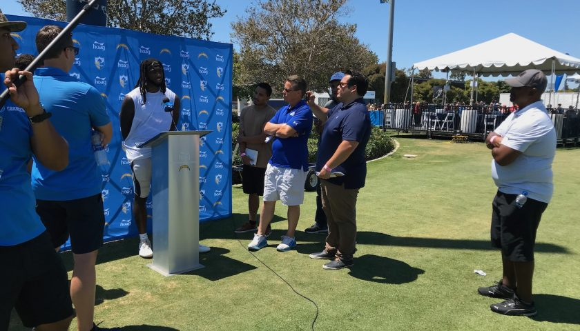 Los Angeles Chargers Media At 2019 Training Camp Interviewing <a rel=