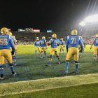UCLA Offensive Linemen Warmup Before Final Game Of 2019 Season. Photo Credit: Ryan Dyrud | The LAFB Network