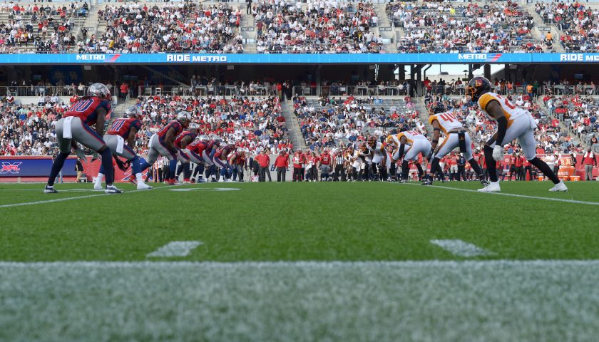 HOUSTON, TX - FEBRUARY 8: The Houston Roughnecks and the LA Wildcats line up for kickoff on February 8, 2020 at TDECU Stadium in Houston, Texas. (Photo by Thomas Campbell/XFL)