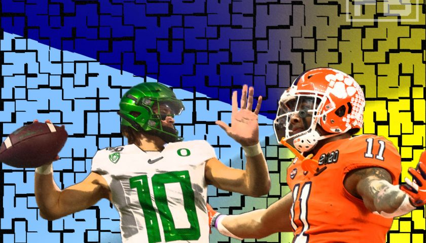 An LAFB Network Graphic. Photo Credit: Justin Herbert - Mark J. Rebilas - USA Today Sports   Isaiah Simmons - USA Today Sports