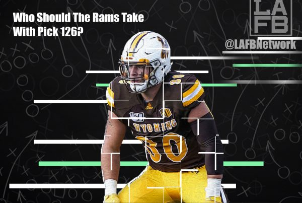 NFL Linebacker Prospect Logan Wilson. Photo Credit: Troy Babbitt & University Of Wyoming Athletics | LAFB Network Graphic