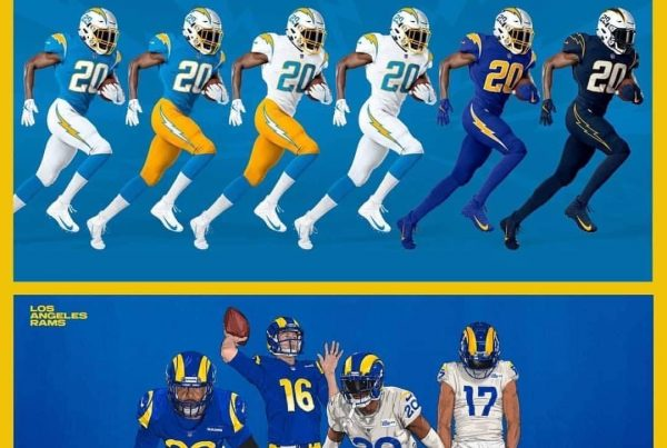 Rams And Chargers Uniforms. Photo Credit: Los Angeles Rams And Los Angeles Chargers
