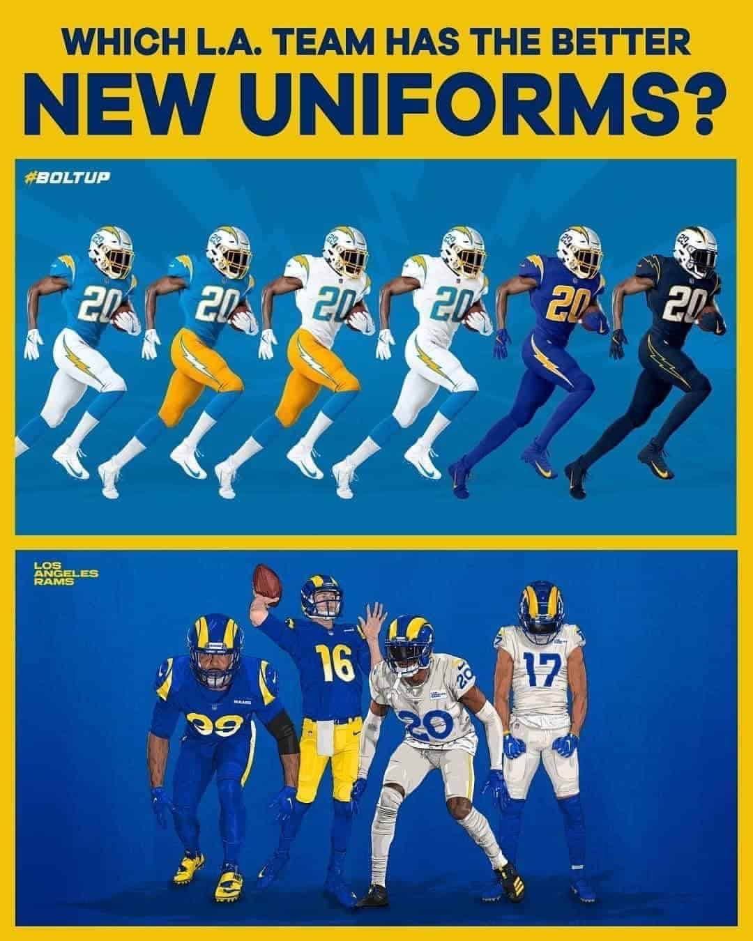 Comparing The Rams And Chargers Uniforms
