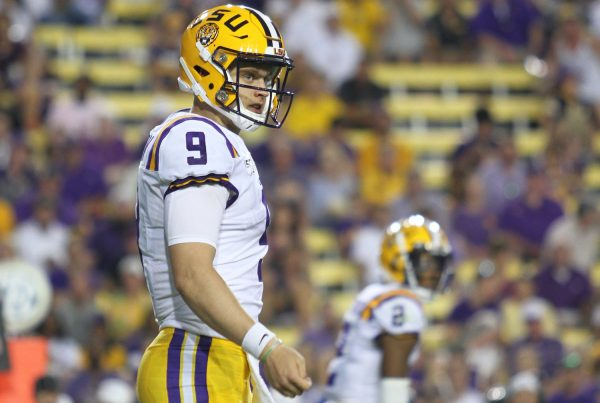 LSU Tigers quarterback Joe Burrow, #9, LSU Tigers vs Georgia Southern Eagles, August 31, 2019, Tiger Stadium, Baton Rouge, Louisiana, Tammy Anthony Baker, Photographer @tabinla @tmabaker | Under Creative Commons License